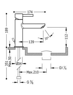 Bateria umywalkowa Tres Alplus chrom 18,9cm 20320301D