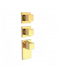 TRESMOSTATIC Bateria termostatyczna podtynkowa BLOCK SYSTEM złota Tres 20625399OR