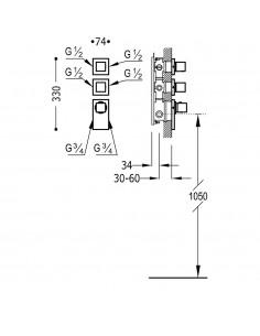 BLOCK SYSTEM COLORS Bateria termostatyczna podtynkowa złota Tres 20625499OR