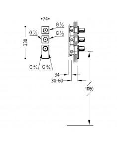 BLOCK SYSTEM COLORS Bateria termostatyczna podtynkowa złota Tres 20635399OR