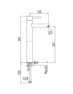 Bateria umywalkowa Tres Alplus wysoka chrom 20320701