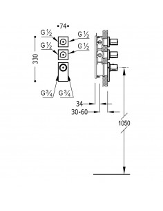 BLOCK SYSTEM COLORS Bateria termostatyczna podtynkowa złota Tres 20635499OR