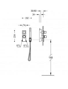 BLOCK SYSTEM COLORS Bateria termostatyczna podtynkowa złota Tres 20625191OR