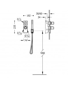 BLOCK SYSTEM COLORS Bateria termostatyczna podtynkowa złota Tres 20635191OR
