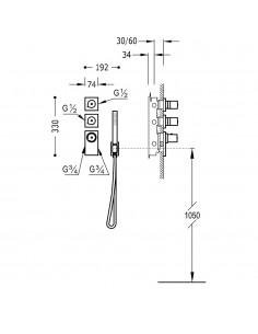 TRESMOSTATIC Bateria termostatyczna podtynkowa złota Tres 20635391OR
