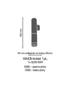 Kinkiet 1pł. Kavos czarno-złoty Amplex 0380