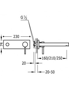 Bateria umywalkowa Tres Alplus podtynkowa chrom 20321001