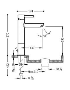 Bateria umywalkowa Tres Alplus podwyższona chrom 20321701D