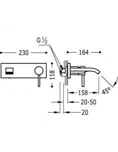 Bateria umywalkowa Tres Alplus podtynkowa z wylewką typu kaskada chrom 20326010