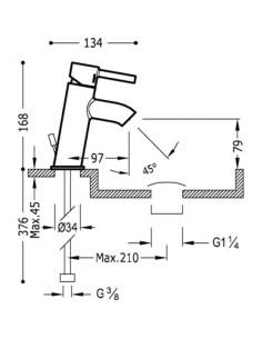 Bateria umywalkowa Tres Alplus chrom 20390301