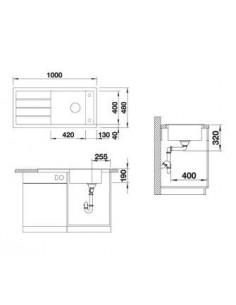 Zlewozmywak kuchenny, wpuszczany, odwracalny BLANCO MEVIT XL 6S 1000x480 mm korek manualny, alumetalik 518355