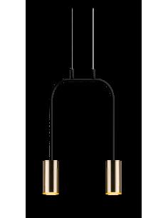 Lampa wisząca 2pł.-krótka Vai czarno-złota Amplex 0289