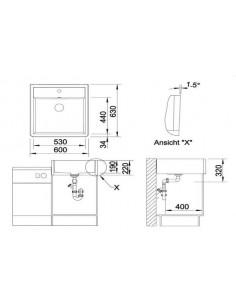 Zlewozmywak kuchenny, nakładany, nieodwracalny BLANCO PANOR 60 630x600 mm jednootworowy, korek manualny, biały połysk 514486