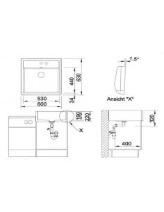 Zlewozmywak kuchenny, nakładany, nieodwracalny BLANCO PANOR 60 630x600 mm dwuotworowy, korek manualny, biały połysk 514501