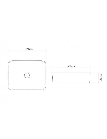 UMYWALKA NABLATOWA EXCELLENT ACTIMA FORKA 47,5x37,5 cm CEAC.3401.475.WH