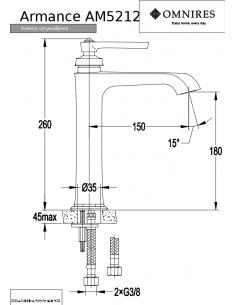 Bateria umywalkowa Omnires Armance wysoka, chrom AM5212 CR