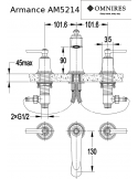 Bateria umywalkowa Omnires Armance 3-otworowa, chrom AM5214 CR