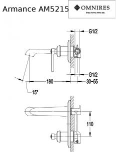 Bateria umywalkowa Omnires Armance podtynkowa, chrom AM5215 CR