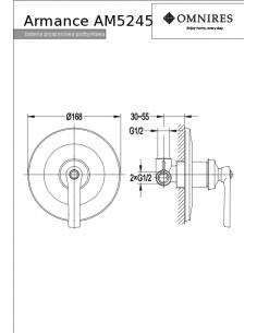 Bateria prysznicowa Omnires Armance podtynkowa, chrom AM5245 CR