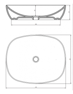 Umywalka nablatowa 47 x38,5 x 11,5 cm Omnires Portland PORTLAND475BP