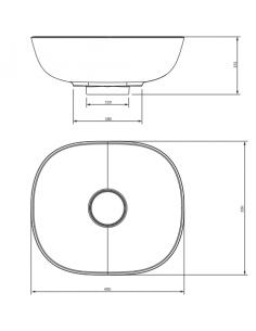 Umywalka nablatowa 40 x 35cm Omnires SILK SILK400BP