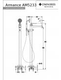 Bateria wannowa Omnires Armance wolnostojąca, chrom AM5233 CR