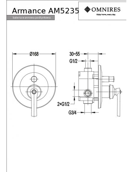 Bateria wannowa Omnires Armance podtynkowa, chrom AM5235 CR