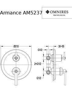 Bateria trójwyjściowa Omnires Armance podtynkowa, chrom AM5237 CR