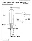 Bateria umywalkowa Omnires Armance sztorcowa, miedź antyczna AM5211 ORB