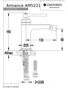 Bateria bidetowa Omnires Armance sztorcowa, miedź antyczna AM5221 ORB