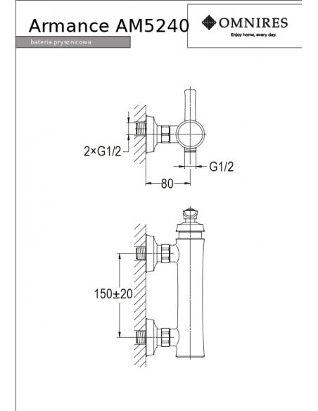 Bateria prysznicowa Omnires Armance miedź antyczna AM5240 ORB