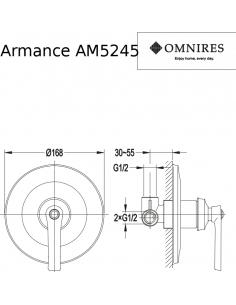 Bateria prysznicowa Omnires Armance podtynkowa, miedź antyczna AM5245 ORB