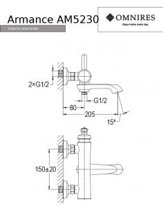 Bateria wannowa Omnires Amarance miedź antyczna AM5230 ORB