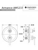 Bateria wannowo-prysznicowa Omnires Armance podtynkowa, miedź antyczna AM5237 ORB
