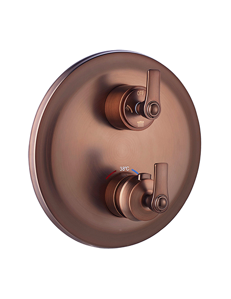 Bateria wannowa Omnires Armance podtynkowa, trójwyjściowa, termostatyczna, miedź antyczna AM5238/6 ORB