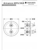 Bateria wannowo-prysznicowa Omnires Armance podtynkowa, trójwyjściowa, termostatyczna, miedź antyczna AM5238/6 ORB