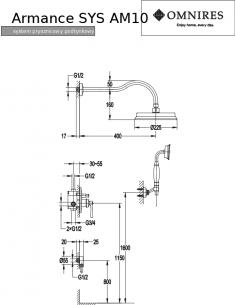 Kompletny łazienkowy system Omnires Armance podtynkowy, miedź antyczna SYS AM10 ORB