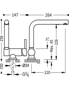 Bateria kuchenna TRES COCINA EXCLUSIVE Abatible podokienna chrom 130335
