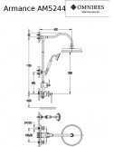 System prysznicowy Omnires Armance natynkowy, miedź antyczna AM5244 ORB