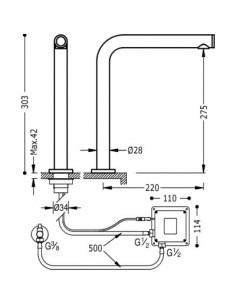 Bateria umywalkowa elektroniczna Touch- Tres TRES COCINA EXCLUSIVE chrom 161445