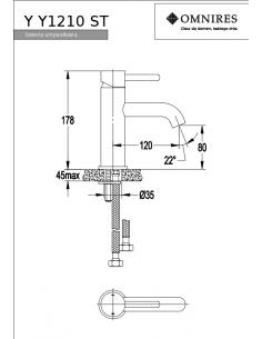 Bateria umywalkowa Omnires Y sztorcowa, chrom Y1210 ST
