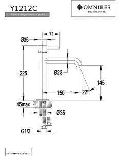Bateria umywalkowa Omnires Y Comfort, chrom Y1212C