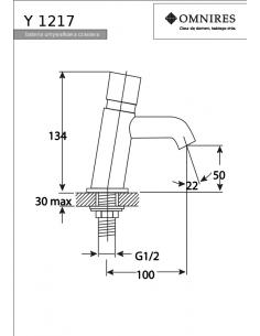 Bateria umywalkowa Omnires Y czasowa, chrom Y1217