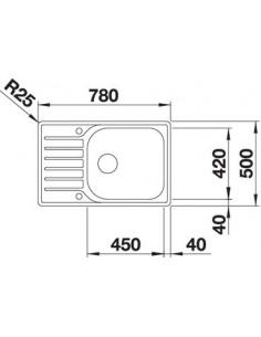 Zlewozmywak kuch. wpuszczany, odwracalny BLANCO LANTOS XL 6 S-IF COMPACT 780x500 mm korek automatyczny, stal 523140