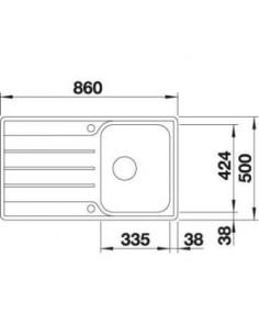 Zlewozmywak kuch. wpuszczany, odwracalny BLANCO LEMIS 45 S-IF 860x500 mm korek automatyczny, stal 523031
