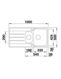 Zlewozmywak kuch. wpuszczany, odwracalny BLANCO LEMIS 6 S-IF 1000x500 mm korek manualny, stal 523032