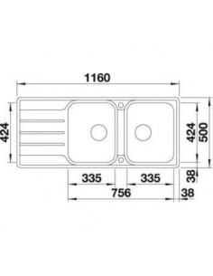 Zlewozmywak kuch. wpuszczany, odwracalny BLANCO LEMIS 8 S-IF 1160x500 mm korek manualny, stal 523036