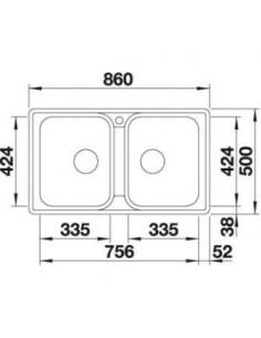 Zlewozmywak kuch. wpuszczany, odwracalny BLANCO LEMIS 8-IF 860x500 mm korek manualny, stal 523039