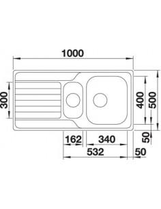 Zlewozmywak kuch. wpuszczany, odwracalny BLANCO DINAS 6 S 1000x500 mm korek manualny, stal 523375