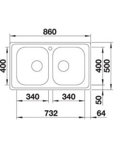 Zlewozmywak kuch. wpuszczany, odwracalny BLANCO DINAS 8 860x500 mm korek manualny, stal 523377